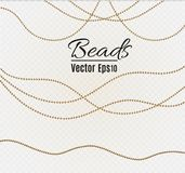 A beautiful chain of Golden color.String beads are realistic insulated. Decorative element of gold bead design.vector. Illustration Royalty Free Stock Images