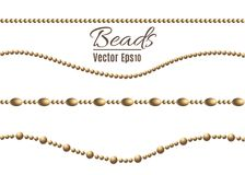 A beautiful chain of Golden color.String beads are realistic insulated. Decorative element of gold bead design.vector. Illustration royalty free illustration
