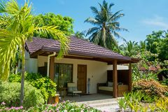 Beautiful chalet at the tropical island resort Royalty Free Stock Photo