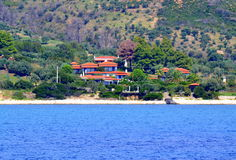Beautiful Chalkidiki seaside villas Greece Stock Photos