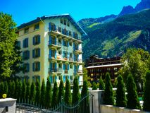 Beautiful Chamonix in the french alps stock images