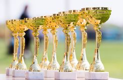 Beautiful champion golden trophy cups for winners in soccer comp Stock Photo