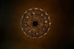 Beautiful chandelier in Barcelona. Barcelona's architecture is a beautiful chandelier in a historic building built in Barcelona by Antonio Gaudi Royalty Free Stock Photography
