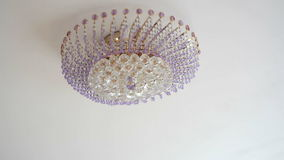 Beautiful chandelier on the ceiling stock video