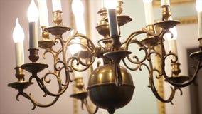 Beautiful Chandelier in church stock footage