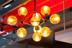 Beautiful chandelier. luxury expensive chandelier hanging under Stock Images