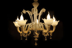 Beautiful chandelier (from Murano Italy)  on black background. Royalty Free Stock Photo