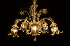 Beautiful chandelier (Murano Italy) isolated on black background. Stock Photography