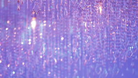 Beautiful Chandelier with Pink and Purple Light stock video footage