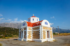 Beautiful chapel on the coast, Crete, Greece. Beautiful chapel on the coast near Pacheia Ammos on Crete, Greece Royalty Free Stock Image