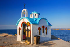 Beautiful chapel on the coast of Crete Stock Images