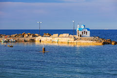 Beautiful chapel on the coast of Crete Stock Photography