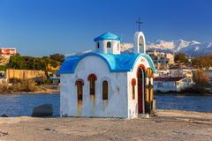 Beautiful chapel on the coast of Crete Stock Photo