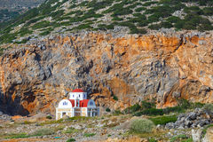 Beautiful chapel on the coast, Crete, Greece. Beautiful chapel on the coast near Pacheia Ammos on Crete, Greece Royalty Free Stock Images