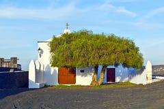Beautiful chapel in Wine area la Geria Stock Photos