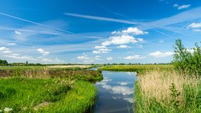 Beautiful polder landscape with the reflections of the sky in a wide ditch, near Rotterdam, the Netherlands. Beautiful characteristic polder landscape with the stock photo