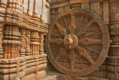 Beautiful chariot Wheel, Konark Sun Temple, Orissa Royalty Free Stock Photos