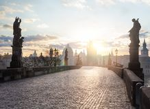 Beautiful Charles Bridge Karluv Most in the morning sun in Prague, Czech Republic royalty free stock images