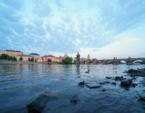 Beautiful Charles bridge over Vltava river in the Prague royalty free stock photography