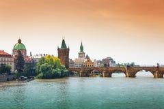 Beautiful Charles Bridge in Prague Royalty Free Stock Image