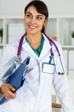 Beautiful charming friendly smiling female medicine therapeutist Royalty Free Stock Photo