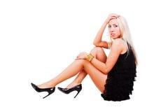Beautiful charming girl in black dress. Stock Image