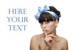 Beautiful charming lady. With a dark blue bow and a place for the text Royalty Free Stock Photo