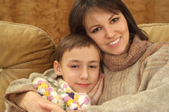 Beautiful charming mom with her son Stock Images