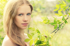 Beautiful charming mysterious girl in  forest Stock Image