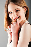 Beautiful charming teenager girl Stock Photos