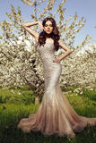 Beautiful charming woman in luxurious sequin dress Stock Photo
