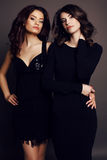 Beautiful charming women with dark hair in elegant clothes Royalty Free Stock Images