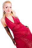 Beautiful charming young girl in red dress Royalty Free Stock Photography