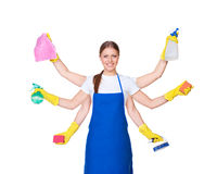 Free Beautiful Charwoman With Six Hands Royalty Free Stock Image - 28095456