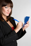 Beautiful Checkbook Woman Royalty Free Stock Images
