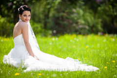 Beautiful cheerful brunette bride sitting & posing in meadow Royalty Free Stock Photos
