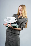 Beautiful cheerful businesswoman stock images