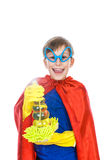 Beautiful cheerful child dressed as superman cleaning with a sponge and a prayer. (cleaning concept Stock Image