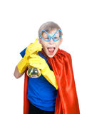 Beautiful cheerful child dressed as superman cleaning. With a sponge and a sprayer (cleaning concept Stock Images