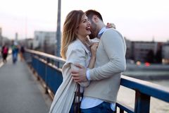 Beautiful couple dating outdoors Stock Photo