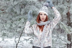 Beautiful cheerful cute red-haired girl in a cap and scarf plays with snow in the beautiful forest fairy Stock Images