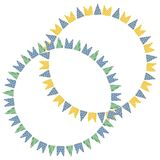 Beautiful and cheerful flags or pennants painted Stock Images