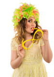 Beautiful cheerful girl in a color wig and a beautiful Up Make U Royalty Free Stock Photos