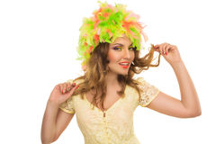 Beautiful cheerful girl in a color wig and beautiful Up Make Up Stock Photos