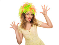Beautiful cheerful girl in a color wig and beautiful Up Make Up Stock Images