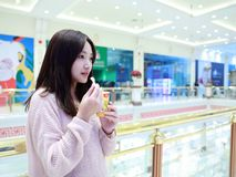 Beautiful cheerful girl eat ice cream Stock Photo