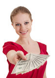 Beautiful cheerful girl holds money Royalty Free Stock Image