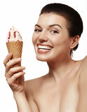 Beautiful and cheerful girl with ice cream Royalty Free Stock Photography