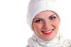 Beautiful cheerful girl in winter cap Stock Photos
