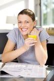 Beautiful cheerful woman royalty free stock photography
